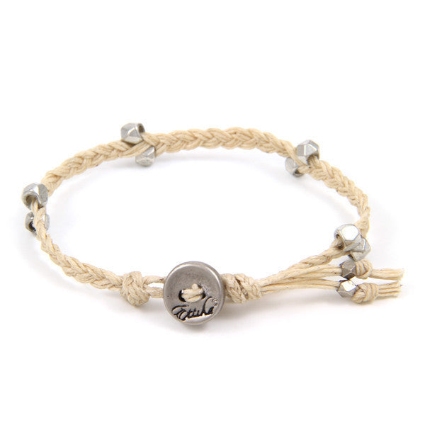 Tan Irish Waxed Linen Bracelet with Multi Faceted Bead Accent and Button Closure
