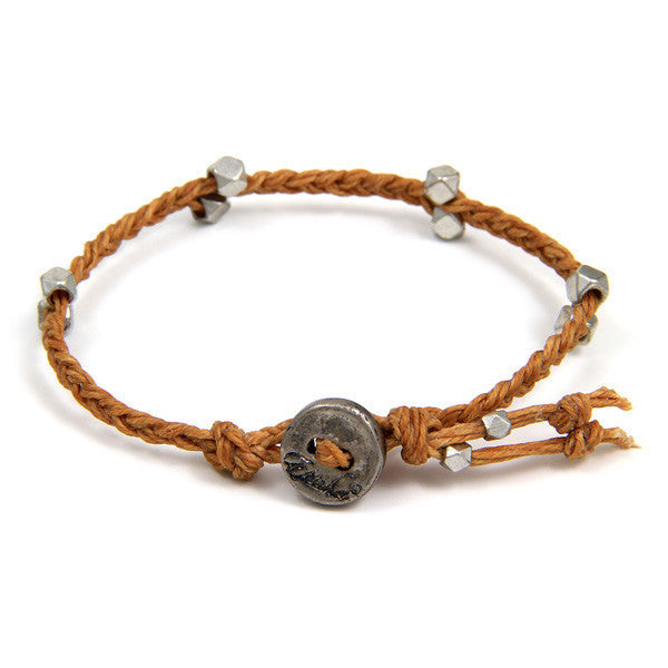 Brown Irish Waxed Linen Bracelet with Multi Faceted Bead Accent and Button Closure