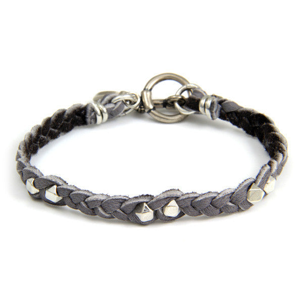 Silver Faceted Bead Men's Grey Braided Bracelet