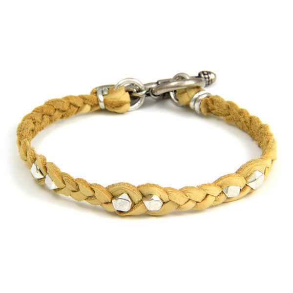 Silver Faceted Bead Men's Tan Braided Bracelet