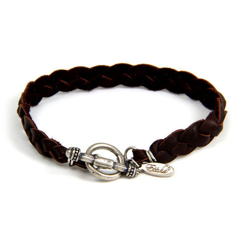 Brown Braided Men's Deerskin Leather Bracelet with Silver Toggle
