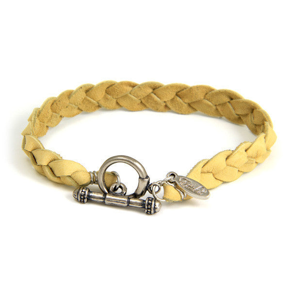 Tan Braided Men's Deerskin Leather Bracelet with Silver Toggle