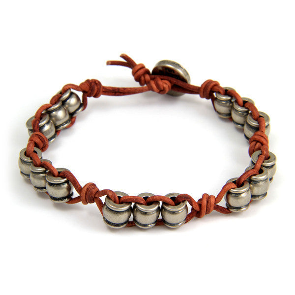 Silver Collared Barrel Beads Rust Leather Bracelet with Button Closure