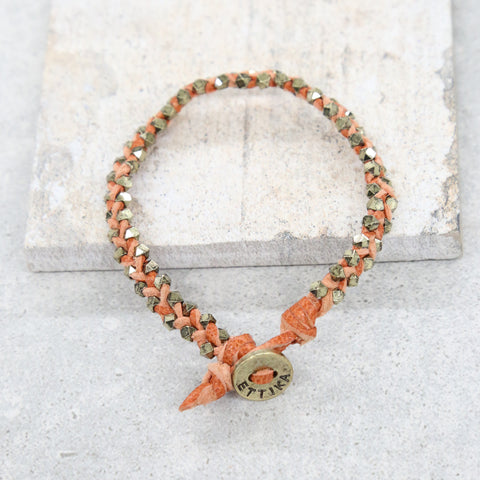 Wear It Tear It Bracelet in Rust and Brass