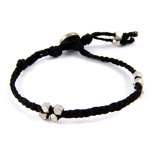 Faceted Bead Cluster Stations Black Irish Linen Bracelet