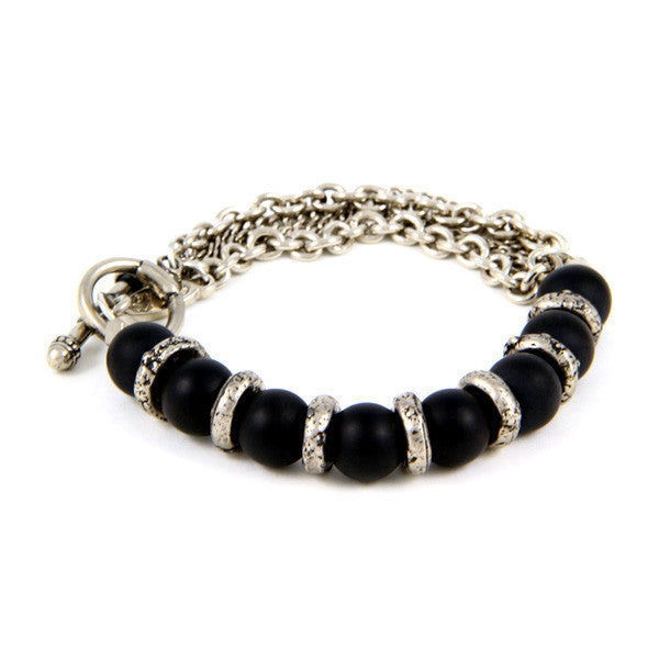 Mens Silver Donut Rings with Black Agate Beads and Chain Bracelet