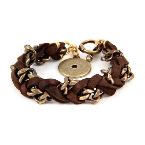 Deerskin and Chain Intertwined Bracelet with Disc Charm