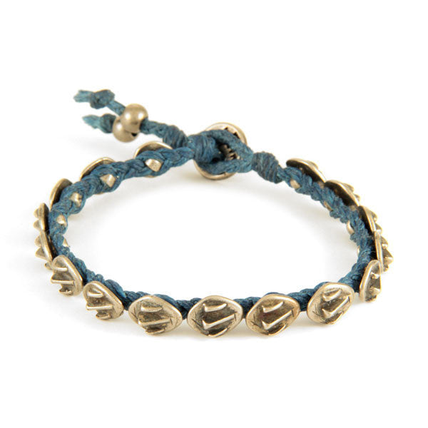 Mens Denim Braided Waxed Linen Bracelet with Alligator Charms