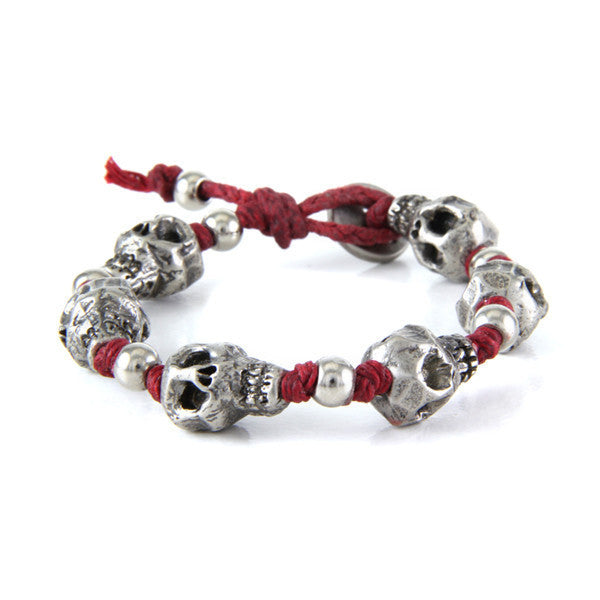 Skull Red Strand Irish Waxed Linen Bracelet with Round Bead Spacer