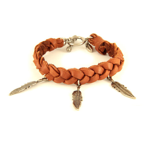 Mens Rust Braided Deerskin Leather Bracelet with Feather Charms