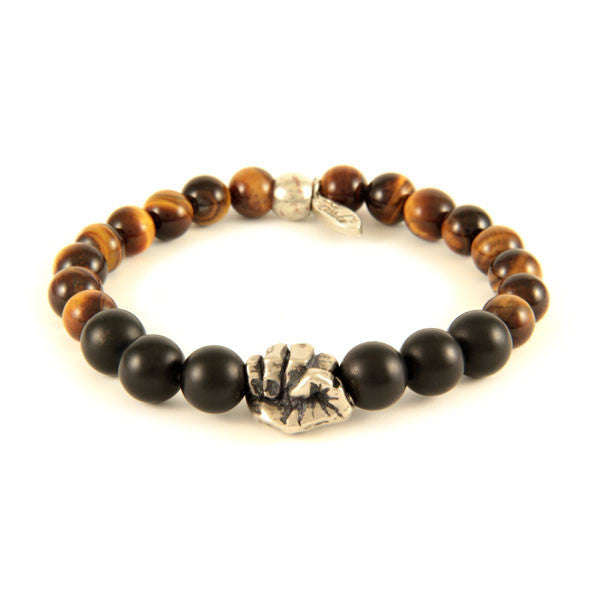 Mens Agate Bead and Tiger Eye Stone Bracelet with a Fist Charm