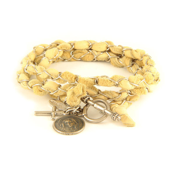 Mens Tan Lamb Leather Intertwined with Chain Wrap Bracelet with Charms