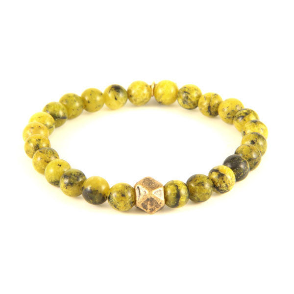 Elastic Bracelet with Semi Precious Yellow Turquoise Stones and Faceted Bead