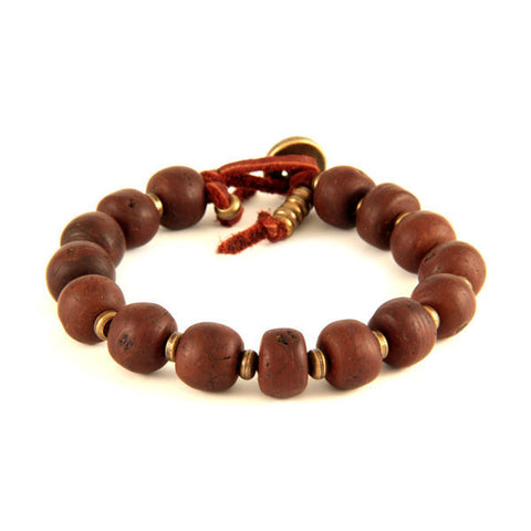 Bodhi Seed and Brass Tiny Disc Bead Spacer on Rust Leather Bracelet
