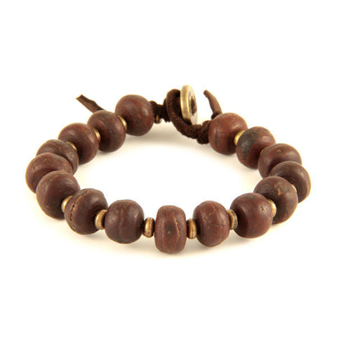 Bodhi Seed and Brass Tiny Disc Bead Spacer on Brown Leather Bracelet