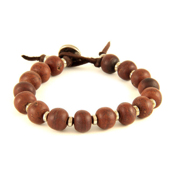 Bodhi Seed and Silver Tiny Disc Bead Spacer on Brown Leather Bracelet