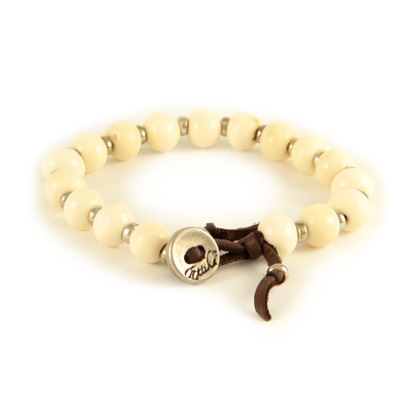 White Bone Bead and Silver Tiny Disc Spacer Bead on Brown Leather Bracelet