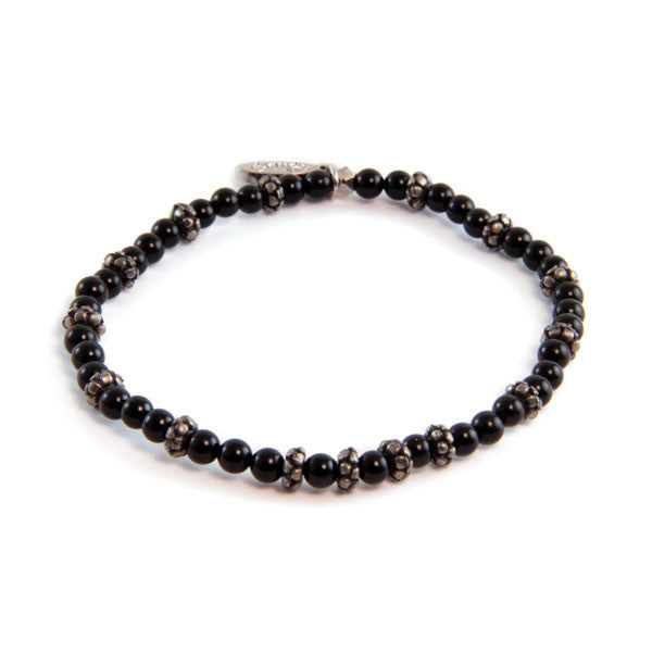 Onyx and Faceted Donut Beaded Bracelet