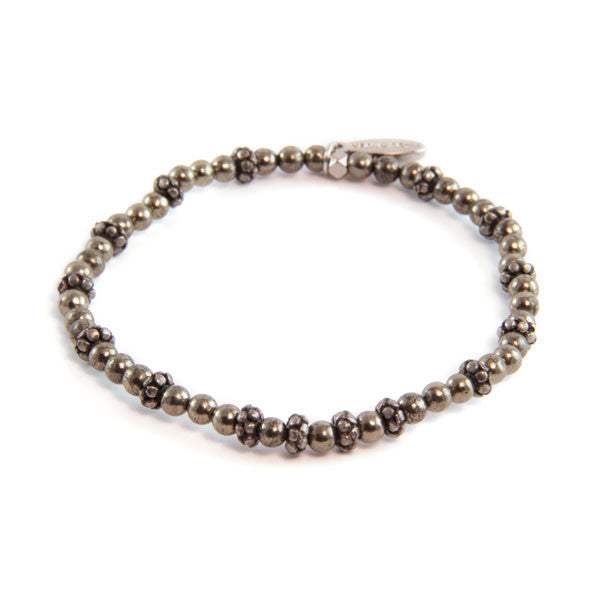 Pyrite and Faceted Donut Beaded Bracelet