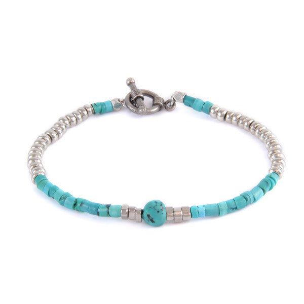 Turquoise Heishi Bead and Turquoise Nugget Combo with Metal Beads Toggle Bracelet