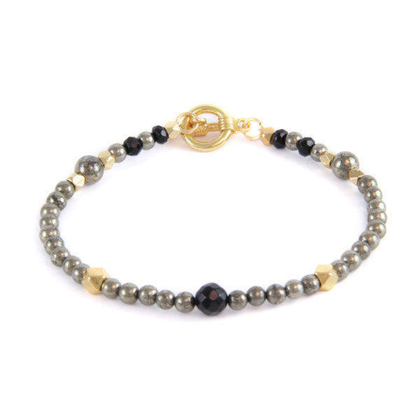 Tiny Round Pyrite and Metal Beads Toggle Bracelet