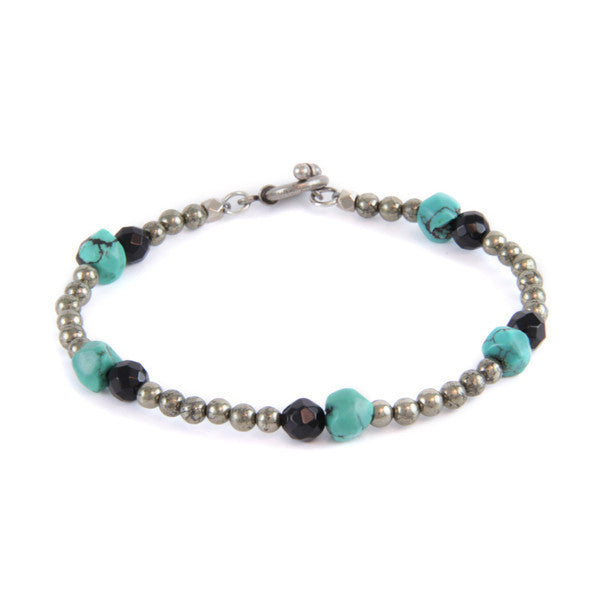 Turquoise and Black Faceted Crystal Pairings with Metals Beads Toggle Bracelet