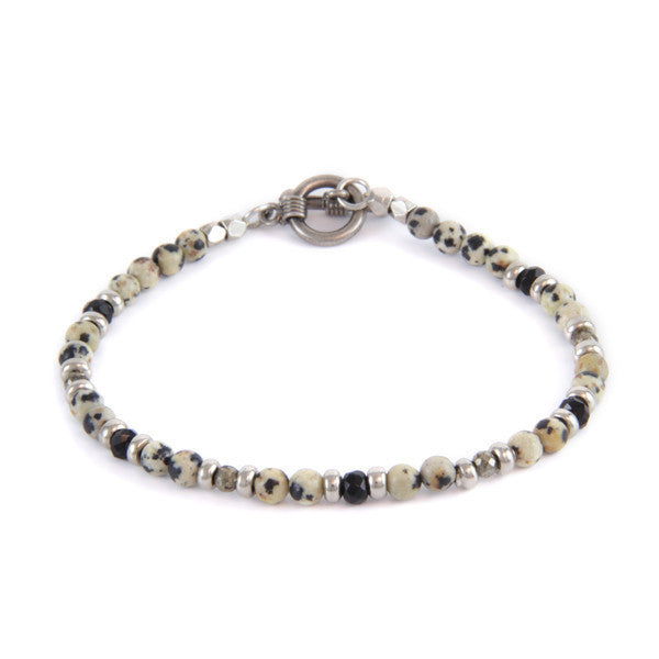 Dalmatian Semi-Precious Stone and Small Black Faceted Accent Bead Toggle Bracelet