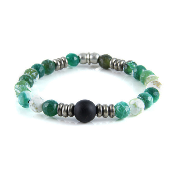 Green Marble Bead with Single Accent Bead Stretch Bracelet