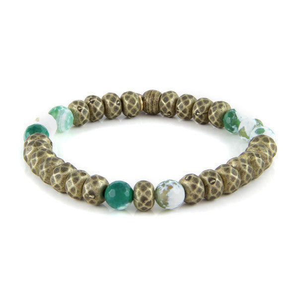 Multi Faceted Metal Beads with Green Marble Accent Beads Stretch Bracelet