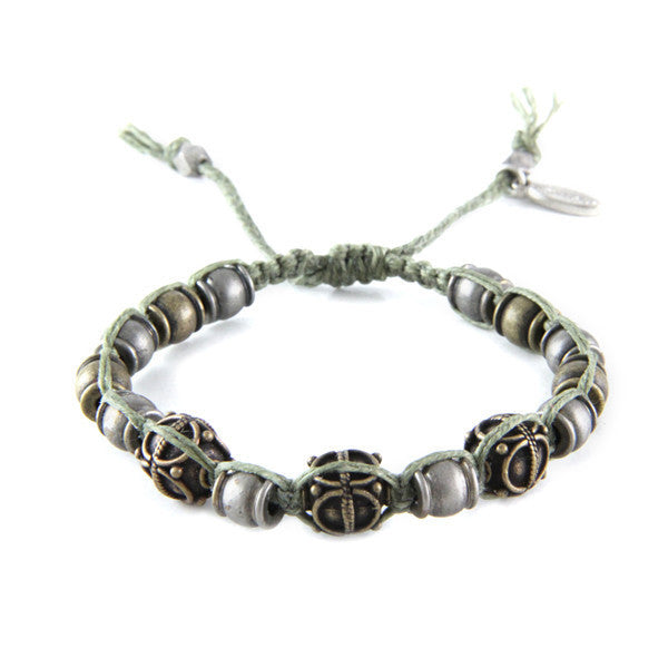 Mens Deerskin and Chain Intertwined Bracelet with Disc Charm