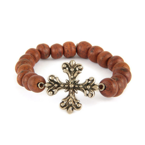 Bodhi Seed Elastic Bracelet with Silver Flower Cross Charm