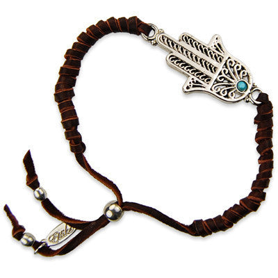 Adjustable Deerskin Leather Bracelet with Hamsa Charm