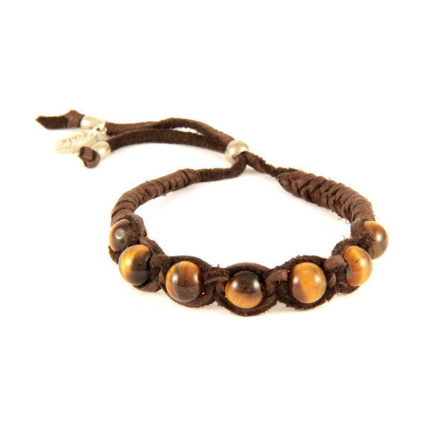 Tiger's Eye Semi Precious Beaded Deerskin Leather Adjustable Bracelet