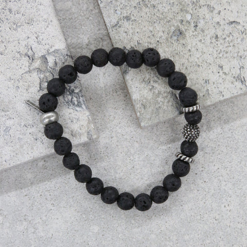 Straight Shooter Bracelet in Lava Beads and Silver Ox