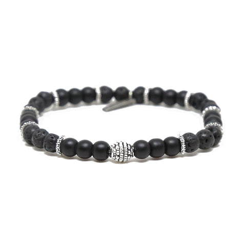 In the Mix Bracelet in Black Lava Bead and Silver Ox