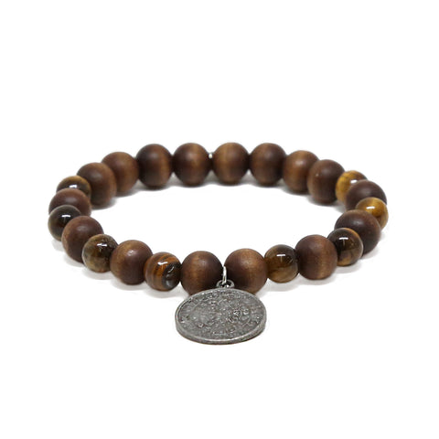 Spare Change Bracelet in Wood and Silver Ox