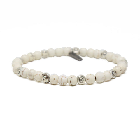 Weekend Warrior Bracelet in White and Silver Ox