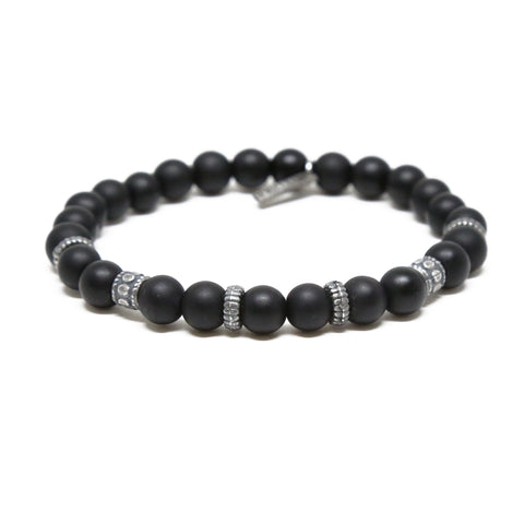 Built Bold Bracelet in Black Agate and Silver Ox