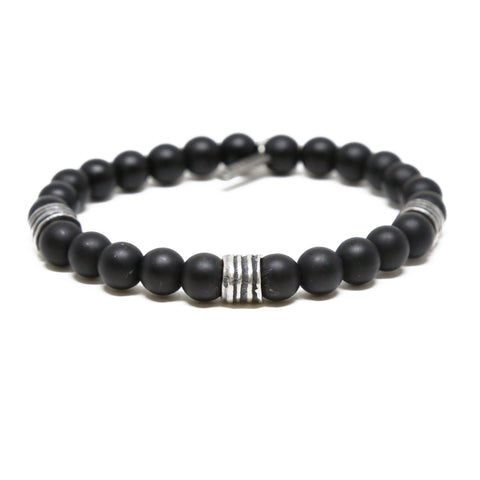 Back to Basics Bracelet in Black Agate and Silver Ox