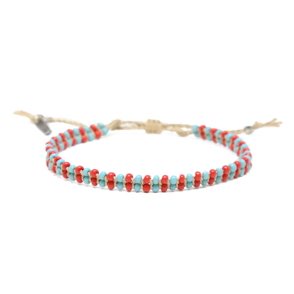 About Those Vibes Bracelet in Turquoise, Red, and Tan