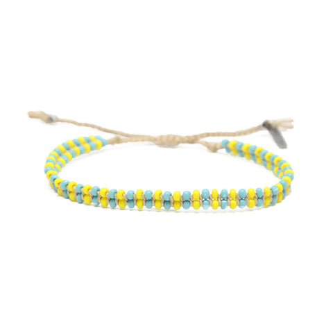 About Those Vibes Bracelet in Turquoise, Yellow, and Tan