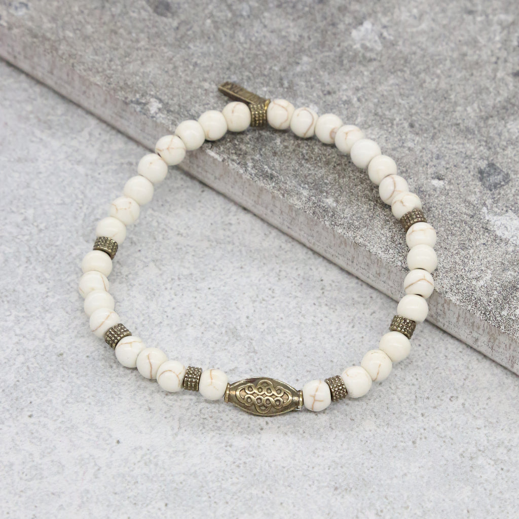Higher Grounds Bracelet in White and Brass