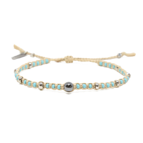 Holbrook Bracelet in Turquoise, Hematite, and Tan