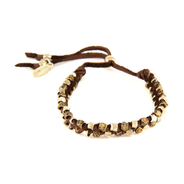 Multi-Color Faceted Bead Strand Intertwined Deerskin Leather Bracelet