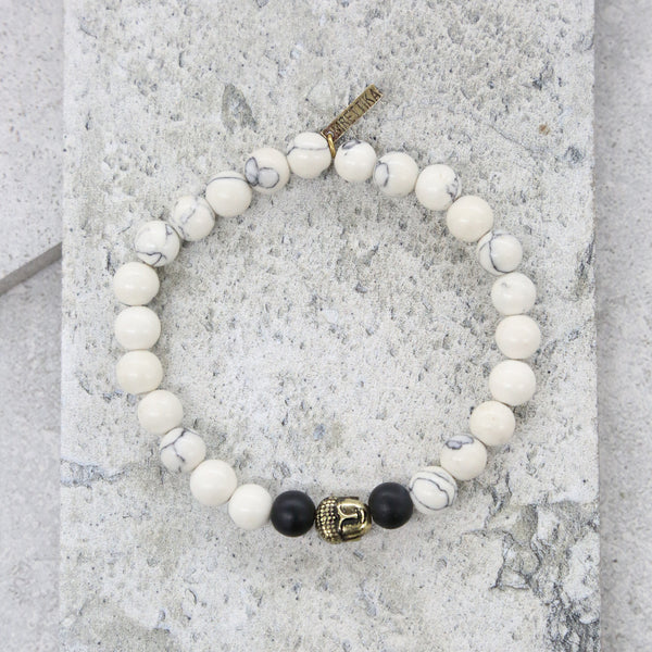 Center Yourself Bracelet in White and Brass
