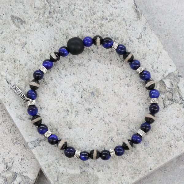 Darren Bracelet in Blue, Black, and Silver Ox