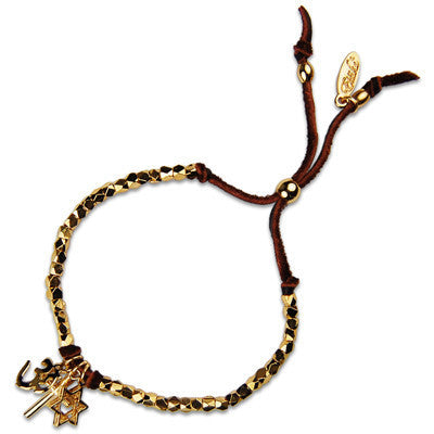 MB622G - Co-Exist Charm Faceted Bead Strand Adjustable Deerskin Leather Bracelet