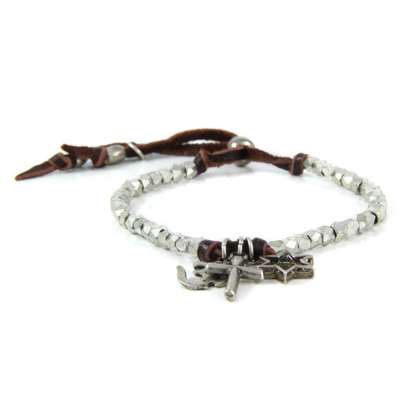 Co-Exist Charm Faceted Bead Strand Adjustable Deerskin Leather Bracelet