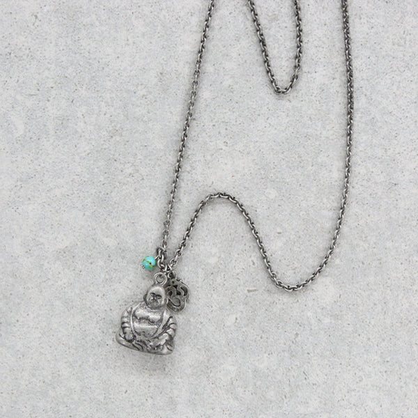 Buddha, Om, Rose Outline Charm with Turquoise Stone Chain Necklace