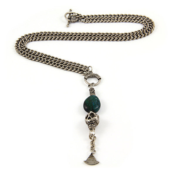 Mens Skull and Turquoise Stone Chain Necklace